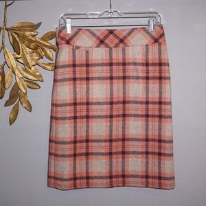 LL Bean Favorite Fit Plaid Wool Skirt - Size 4